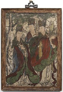 Chinese Ming Dynasty Polychrome Fresco Panel