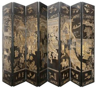 Chinese Carved Hardwood 8-Panel Floor Screen