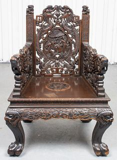 Chinese Carved Hardwood Armchair with Dragons