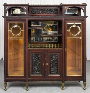 Aesthetic Movement Inlaid Hardwood Display Cabinet