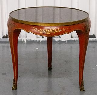 Chinese Red Lacquer And Marble Side Table