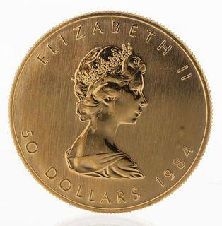 Canada Elizabeth II 50 Dollars 1984 Fine Gold Coin