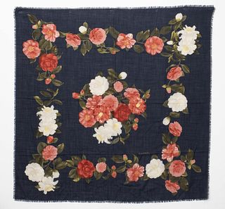 Chanel Silk & Wool Blend Floral Scarf