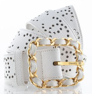 Chanel White Perforated Logo Belt