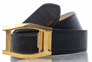 Cartier Black Lizard Skin 'Tank' Belt