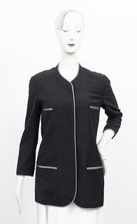 Chanel Boutique Black Blazer With Striped Trim