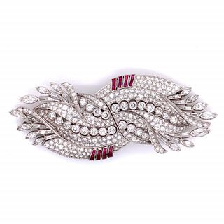 Art Deco 20.00 Ct. Diamond And Ruby Brooch