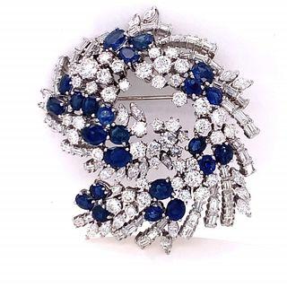 Art Deco Diamond And Sapphire Pin