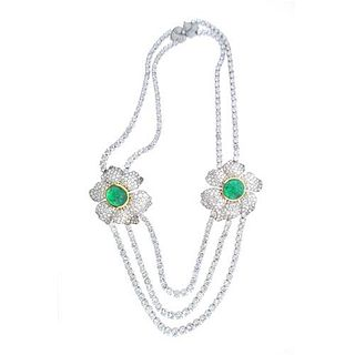 86.50 Ct. Diamond & Emerald Necklace