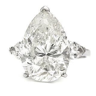9.66 Ct GIA Certified J I2 Pear Shape Diamond Enga