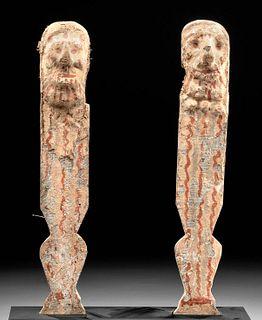 Fine Egyptian Late Dynastic Polychrome Wood Legs (pr)