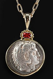 18K Gold Necklace w/ Alexander Tetradrachm