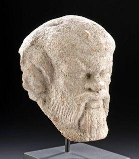 Greek Terracotta Antefix of a Satyr