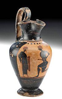 Greek Attic Black-Figure Trefoil Oinochoe w/ Athlete