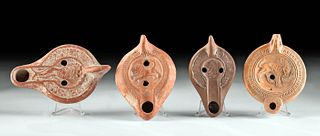 Four Roman North African Terracotta Oil Lamp with Lions
