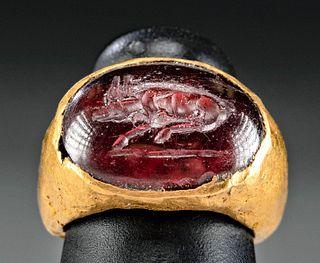 Roman Gold Ring & Garnet Intaglio w/ Recumbent Bull