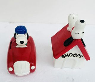 Pair of Vintage Snoopy Piggy Banks, Racer & Doghouse