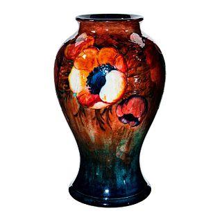 Large Moorcroft Pottery Flambe Anemone Pattern Vase