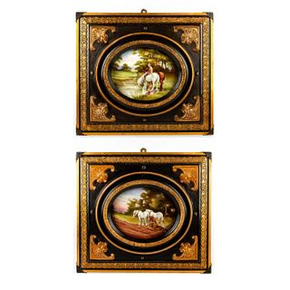 Pair of Royal Doulton H. Morrey Plaques, Horses, Framed