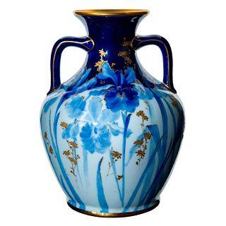 Doulton Burslem Double Handled Blue Floral Vase