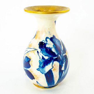 Doulton Burslem Miniature Bulbous Vase, Blue Iris