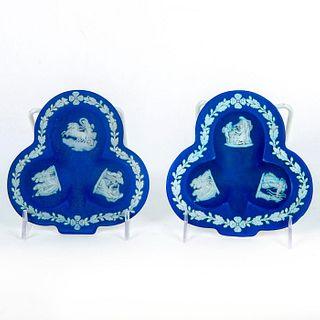2 Wedgwood Blue Jasperware Trinket Dishes