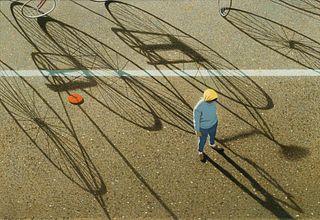Robert Vickrey (American, 1926-2011) Red Frisbee, Yellow Kerchief, 1989
