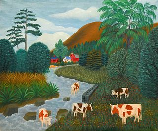 Lawrence Lebduska (American, 1894-1966) Cows Grazing