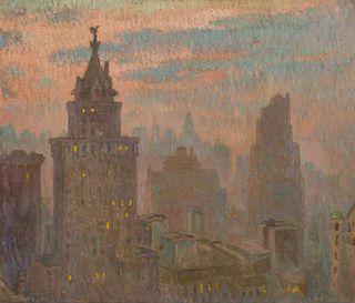 William Samuel Horton (American, 1865-1936) The Heckscher Tower-Early Candlelight