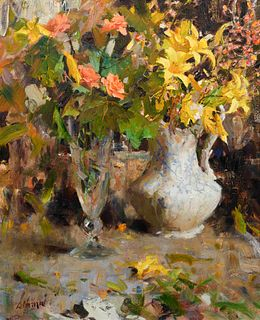 Richard Alan Schmid (American, b. 1934) Day Lilys and Roses, 1963