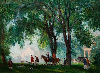 Gifford Beal (American, 1879-1956) Hunters and Hounds, 1920