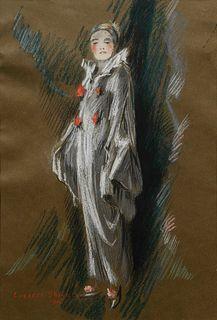 Everett Shinn(American, 1876-1953)Portrait of Mrs. Shinn Dressed as a Clown, 1915