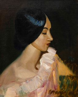George Luks (American, 1867-1933) Mercedes in a Satin Dress, 1933
