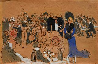 George Luks (American, 1867-1933) At Mouquin, 1904