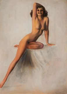 Rolf Armstrong(American, 1890-1960)Nude with Right Arm on Head, c. 1950s