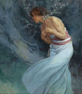 Alphonse Mucha(Czech, 1860-1939)Woman with Flowering Branches, 1920