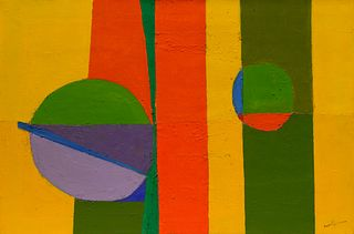 Beatrice Mandelman(American, 1912-1998)Stripes (Green Spot), c. 1960s