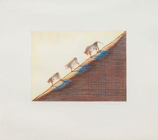 Wayne Thiebaud (American, b. 1920) Three Cows, 1991