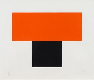 Ellsworth Kelly (American, 1923-2015) Red-Orange Over Black, 1970
