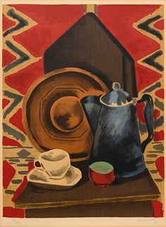 Man Ray (American, 1890-1976) Still Life with Coffee Pot, Cup and Saucer