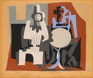 After Pablo Picasso(Spanish, 1881-1973)Pierrot et Arlequin a la Terrasse de Cafe(from Dix Pochoirs), ca. 1920