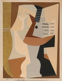 After Pablo Picasso(Spanish, 1881-1973)Gueridon avec Guitare et Partition (from Dix Pochoirs), ca. 1920