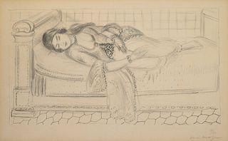 Henri Matisse (French, 1869-1954) Orientale sur lit de repos, sol de carreaux rouges (Oriental Day Bed, Red Tiled Floor), 1929