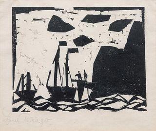 Lyonel Feininger (American/German, 1871-1956) Schiffe am Felsenstrand(Ships along a rocky coast), 1920