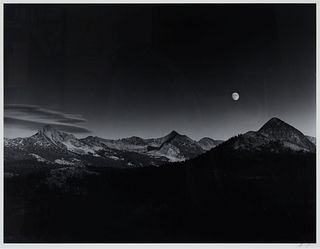 Ansel Adams (American, 1902-1984) Sierra Nevada: Autumn Moon, The High Sierra From Glacier Point, 1948