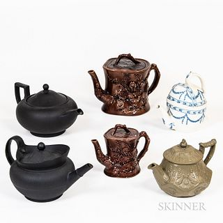 Six Wedgwood and Related Teapots