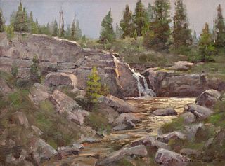 Jim Wilcox (American, b. 1941) Golden Waters - Glacier National Park