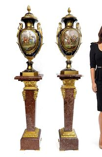 Monumental Pair of Bronze Mounted Sevres Vases, 19th C.