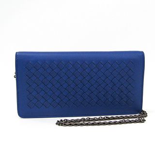Bottega Veneta Intrecciato 445153 Women's Leather Chain/Shoulder Wallet Blue BF336423