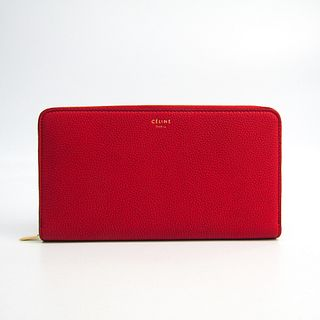 Celine Large Ziped Multifunction 105003 Women's Leather Long Wallet (bi-fold) Red BF337376